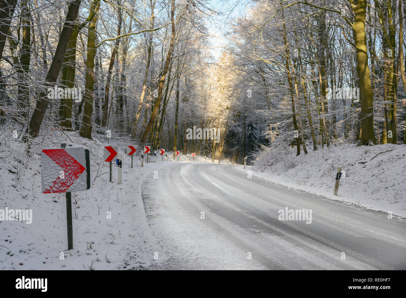 traffic signs with red arrows on a dangerous curve on an snowy country road through the winter forest, safety driving concept, copy space - Stock Image
