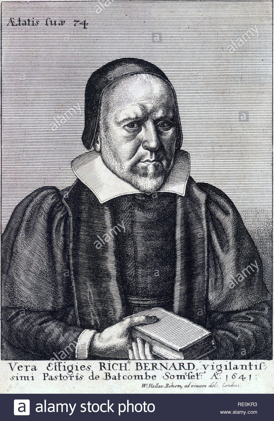 Richard Bernard portrait, 1568 – 1641, was an English Puritan clergyman and writer, etching by Bohemian etcher Wenceslaus Hollar from 1600s - Stock Image