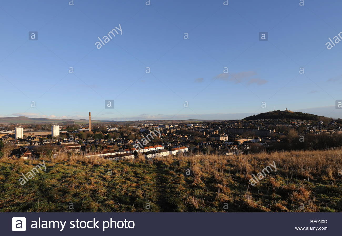 Elevated view of Lochee,Cox's Stack chimney and Dundee Law Dundee Scotland  January 2019 - Stock Image