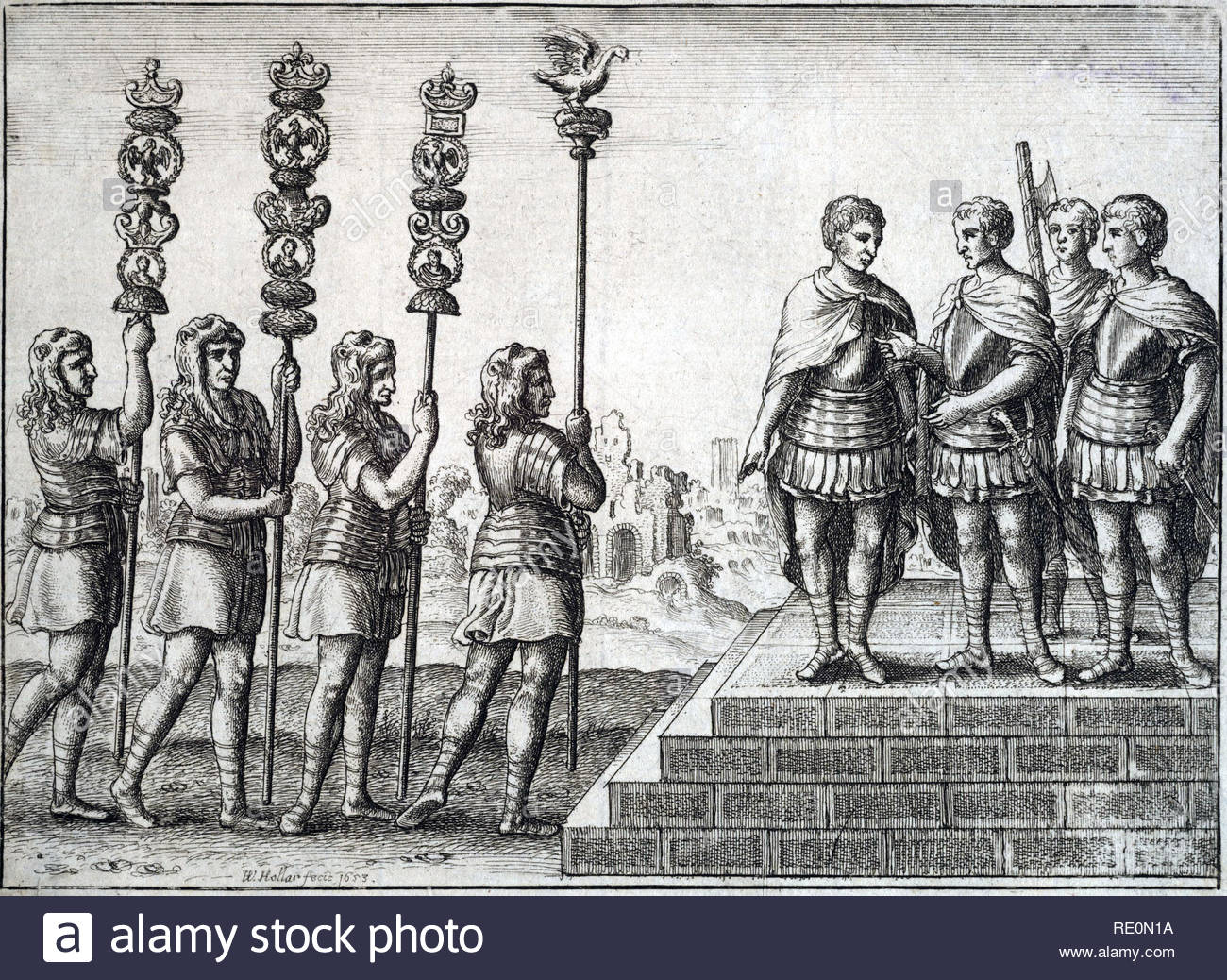 Roman soldiers, etching by Bohemian etcher Wenceslaus Hollar from 1653 - Stock Image
