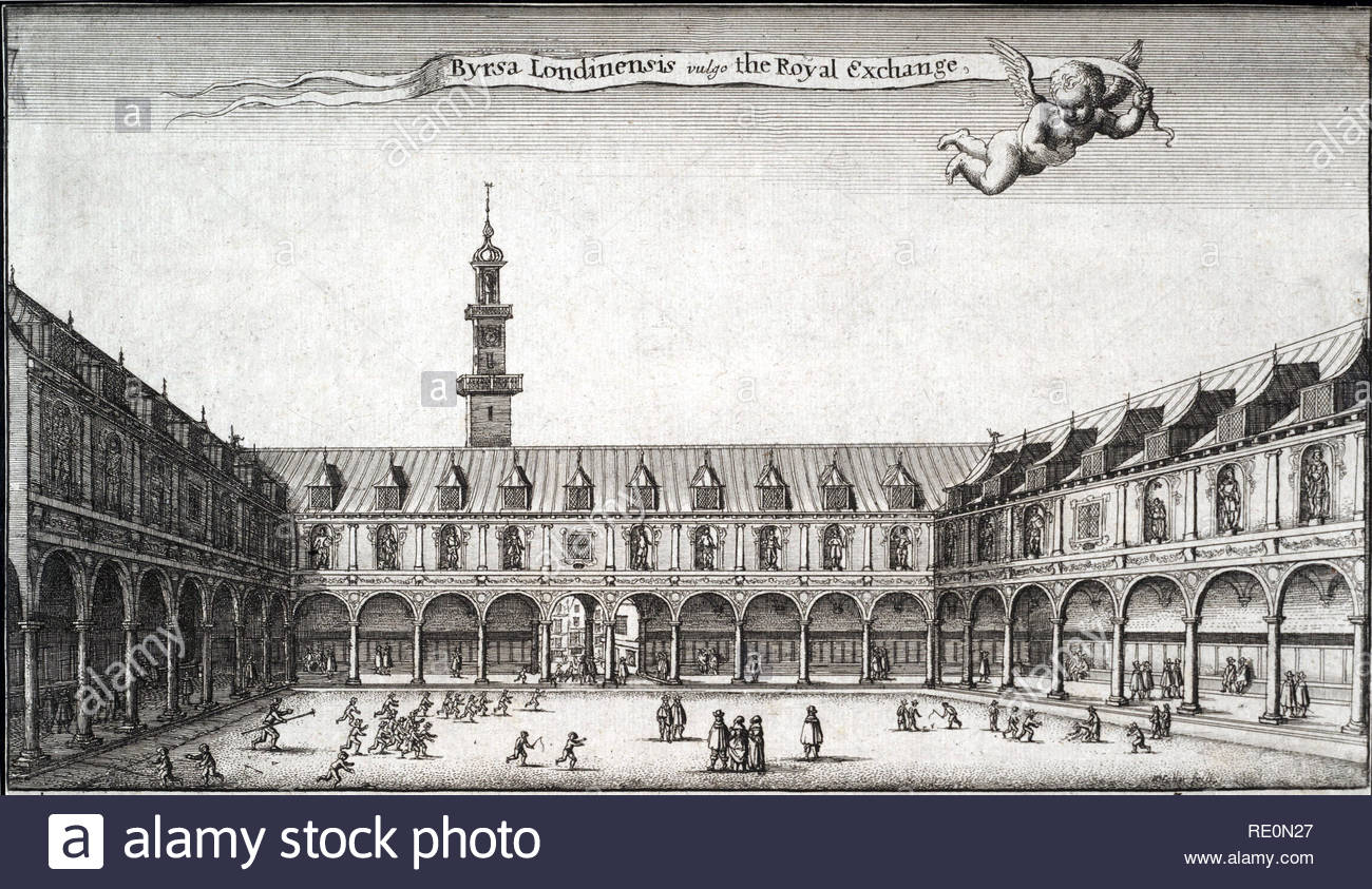 The Royal Exchange in London was founded in the 16th century by the merchant Thomas Gresham on the suggestion of his factor Richard Clough to act as a centre of commerce for the City of London. Etching by Bohemian etcher Wenceslaus Hollar from 1600s - Stock Image