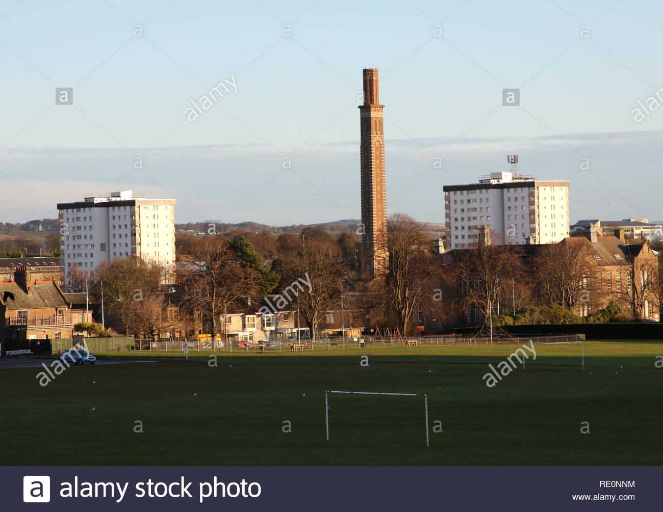 Council housing Ancrum Court and Burnside Court and Cox's Stack chimney Lochee Dundee Scotland  January 2019 - Stock Image