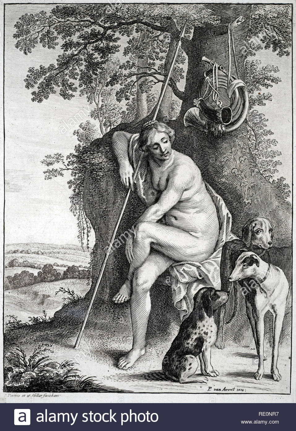 Seated figure of Diana the huntress,  etching by Bohemian etcher Wenceslaus Hollar from 1600s. After Pieter van Avont. - Stock Image