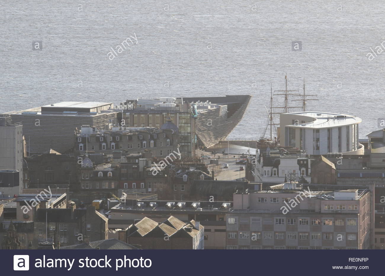 Elevated view of Discovery Point Dundee Scotland  January 2019 - Stock Image