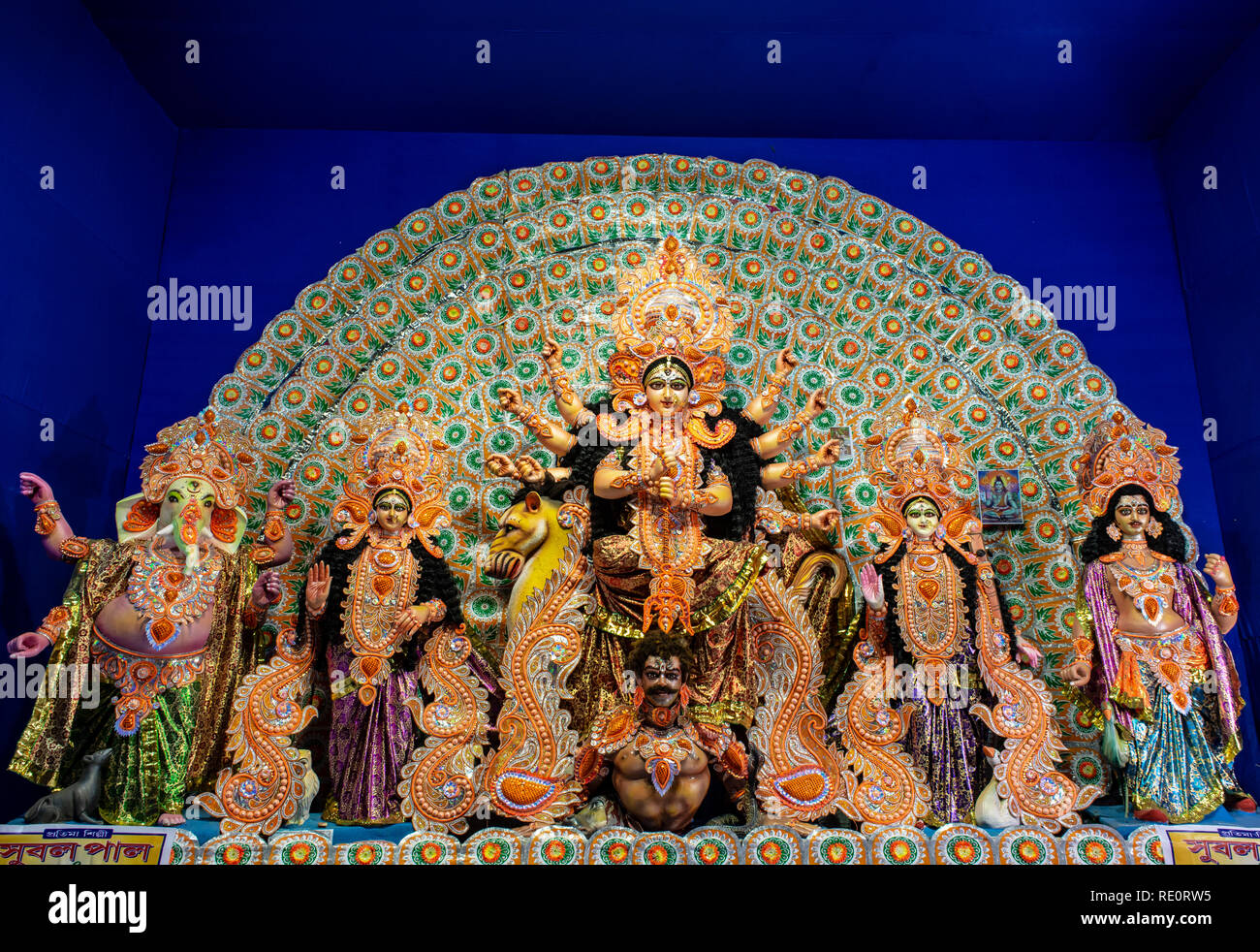 Goddess Durga: Durga Puja is the one of the most famous festival celebrated in West Bengal, Assam, Tripura and is now celebrated worldwide.. - Stock Image