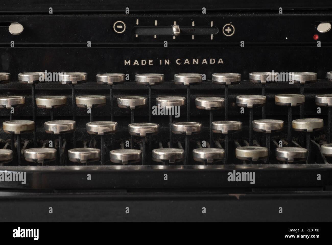 Close-up of manual keys on a 1950s-era Royal typewriter. - Stock Image