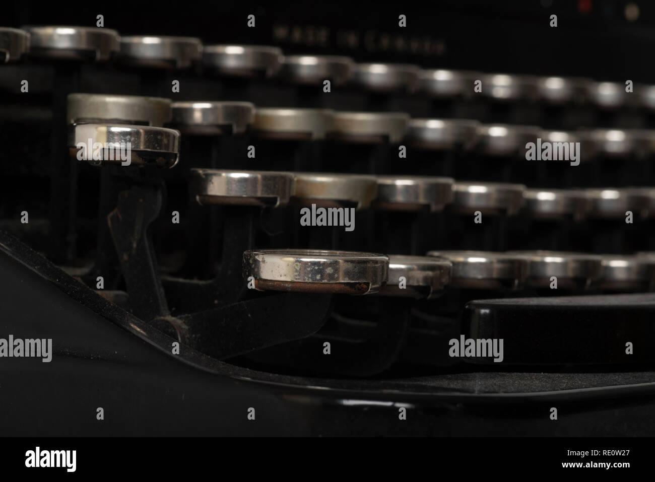 Close up of manual keys on a 1950s-era Royal typewriter. - Stock Image