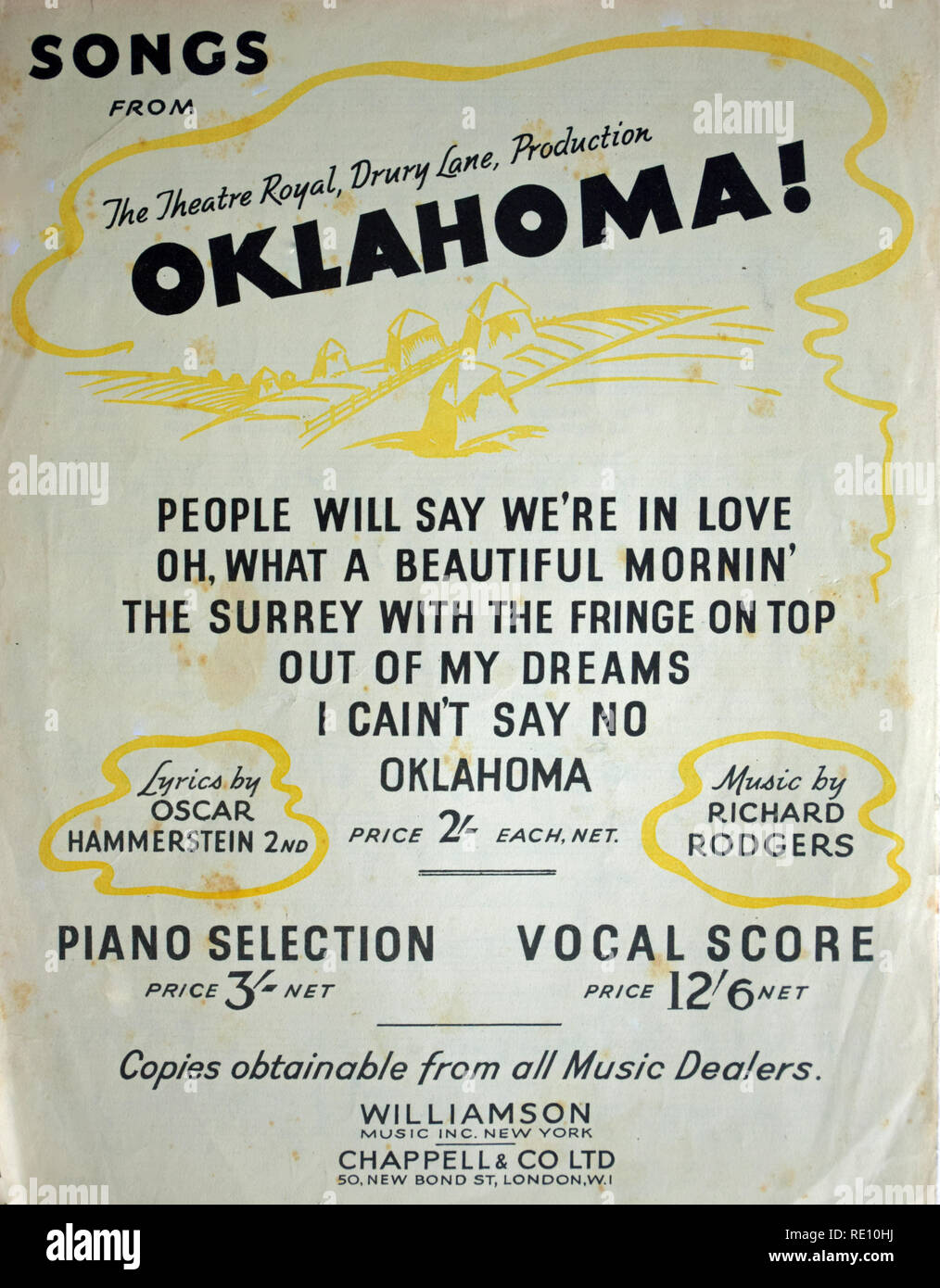 People will say we're in love (sheet music - rear cover) - Stock Image