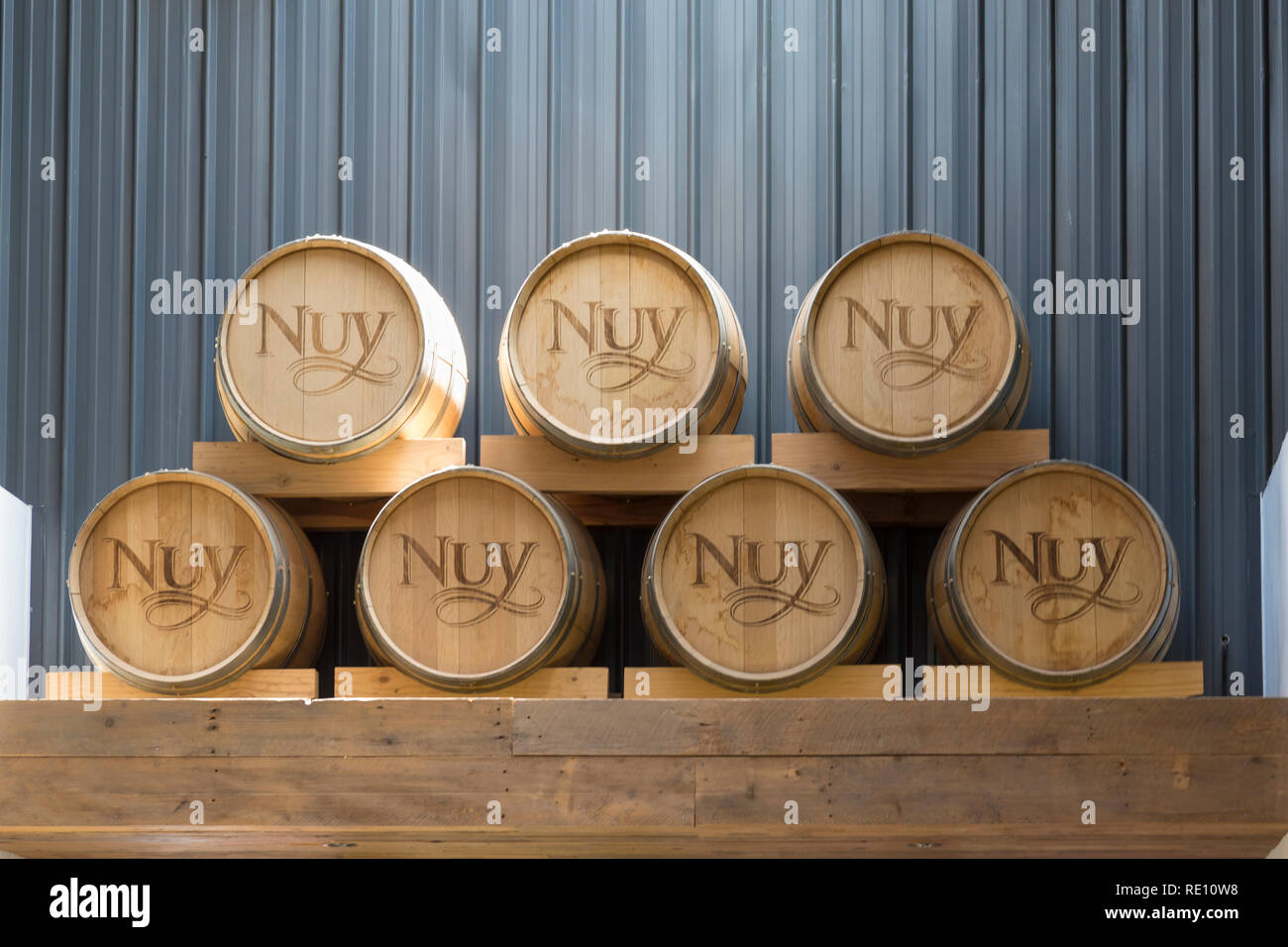 Interior of Nuy On The Hill Restaurant and Winery with wine casks between Robertson and Worcester, Breede River Valley, Western Cape, South Africa - Stock Image
