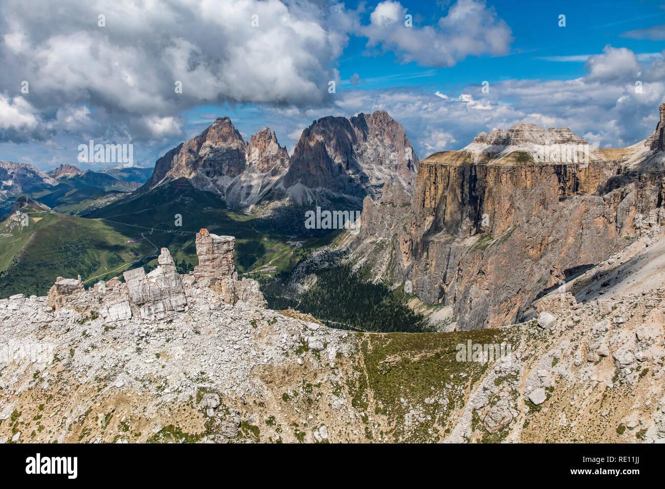 Veneto, mountain landscape on the Pordoi Pass, Dolomites, Italy, pass at 2239 meters altitude, ride on the mountain railway to Sass Pordoi, 2950 meter - Stock Image
