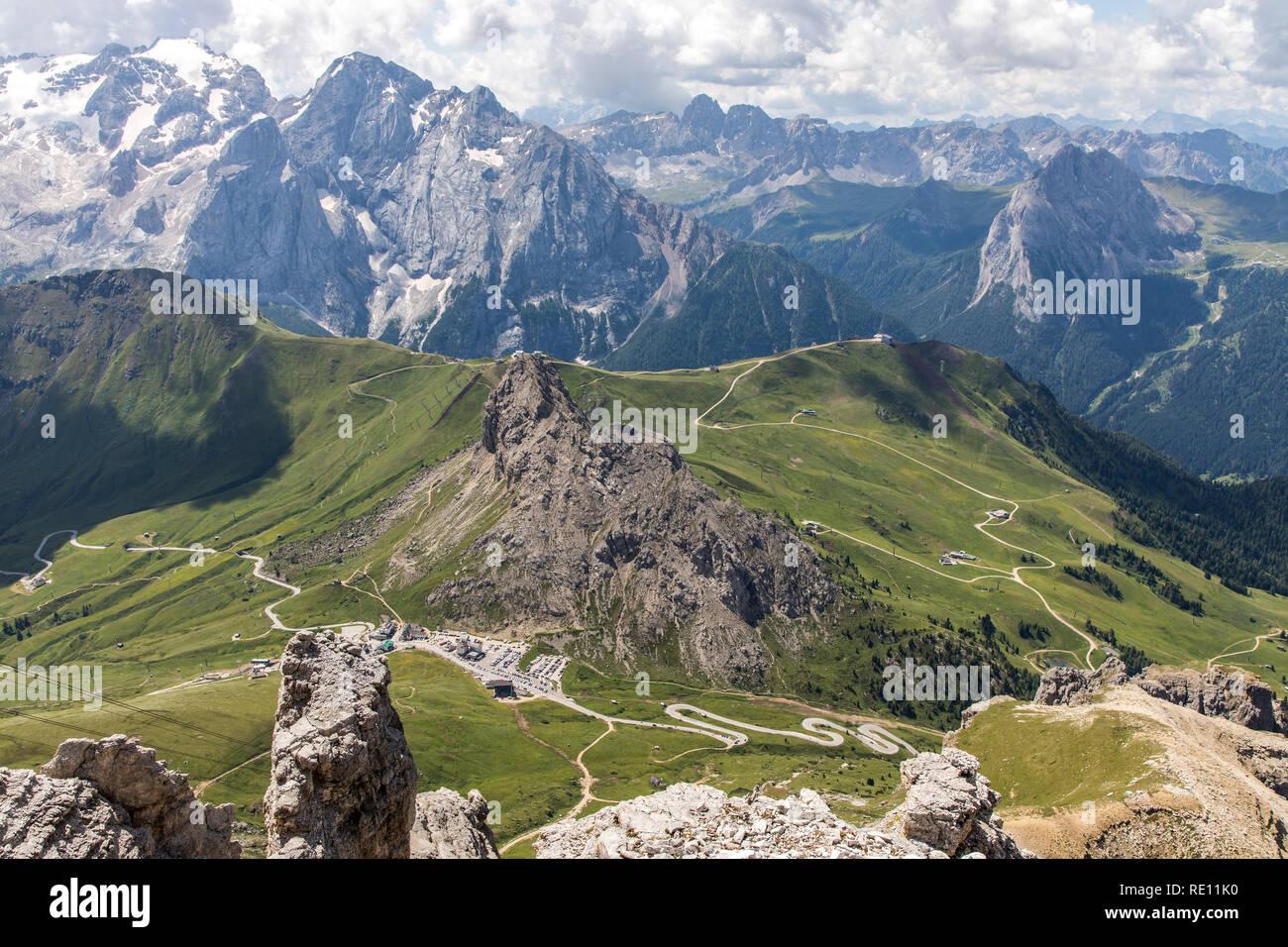 Veneto, mountain landscape on the Pordoi Pass, Dolomites, Italy, pass at 2239 meters altitude, valley station of the mountain railway to Sass Pordoi,  - Stock Image
