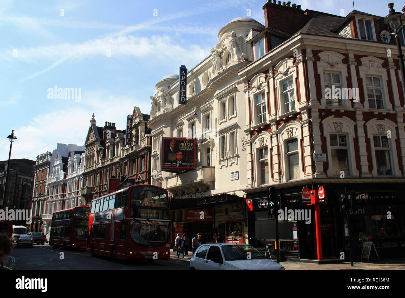 Exterior view of the Lyric Theatre and Apollo Theatre at Shaftesbury Ave, Soho, London, United Kingdom - Stock Image