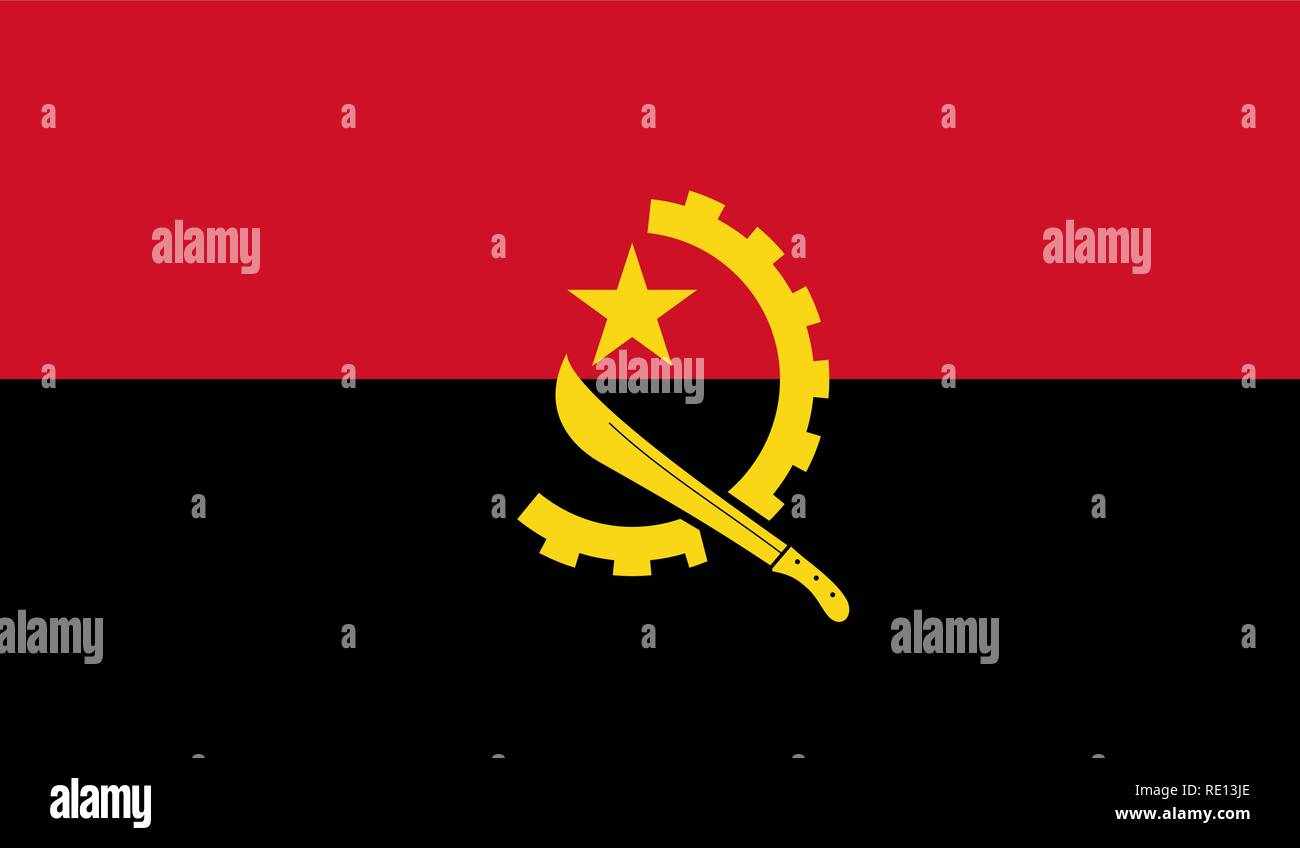 Vector Illustration of Angola Flag - Stock Image