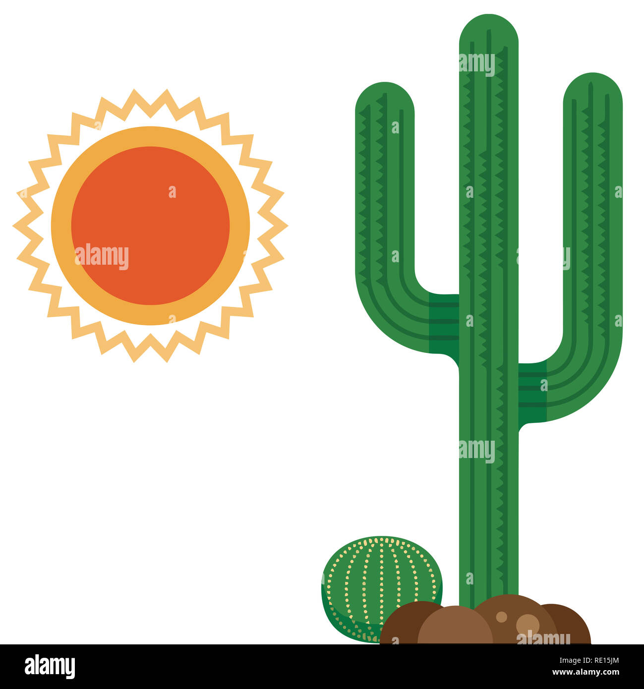 cactus desert hot dry nature wild sun illustration - Stock Image