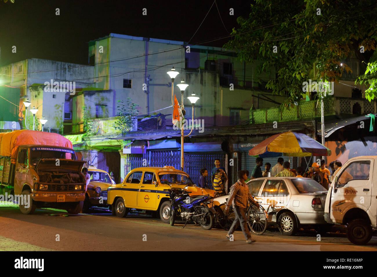 Kolkata / India - August 2015: A street at night. - Stock Image