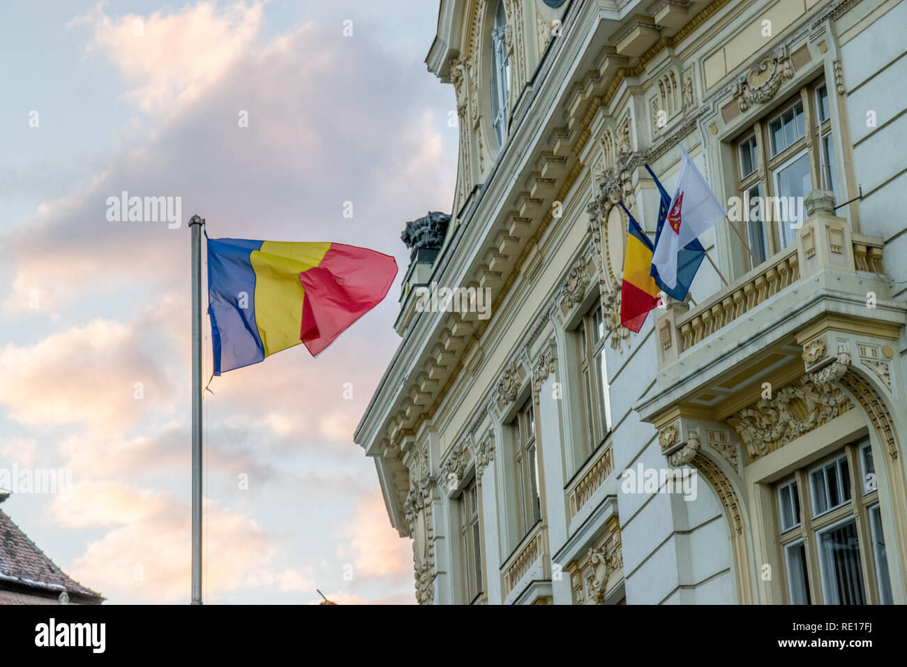 The City Hall Of Sibiu And The Flags Of The Country The European Union And The City Itself In Sibiu Romania Stock Photo Alamy