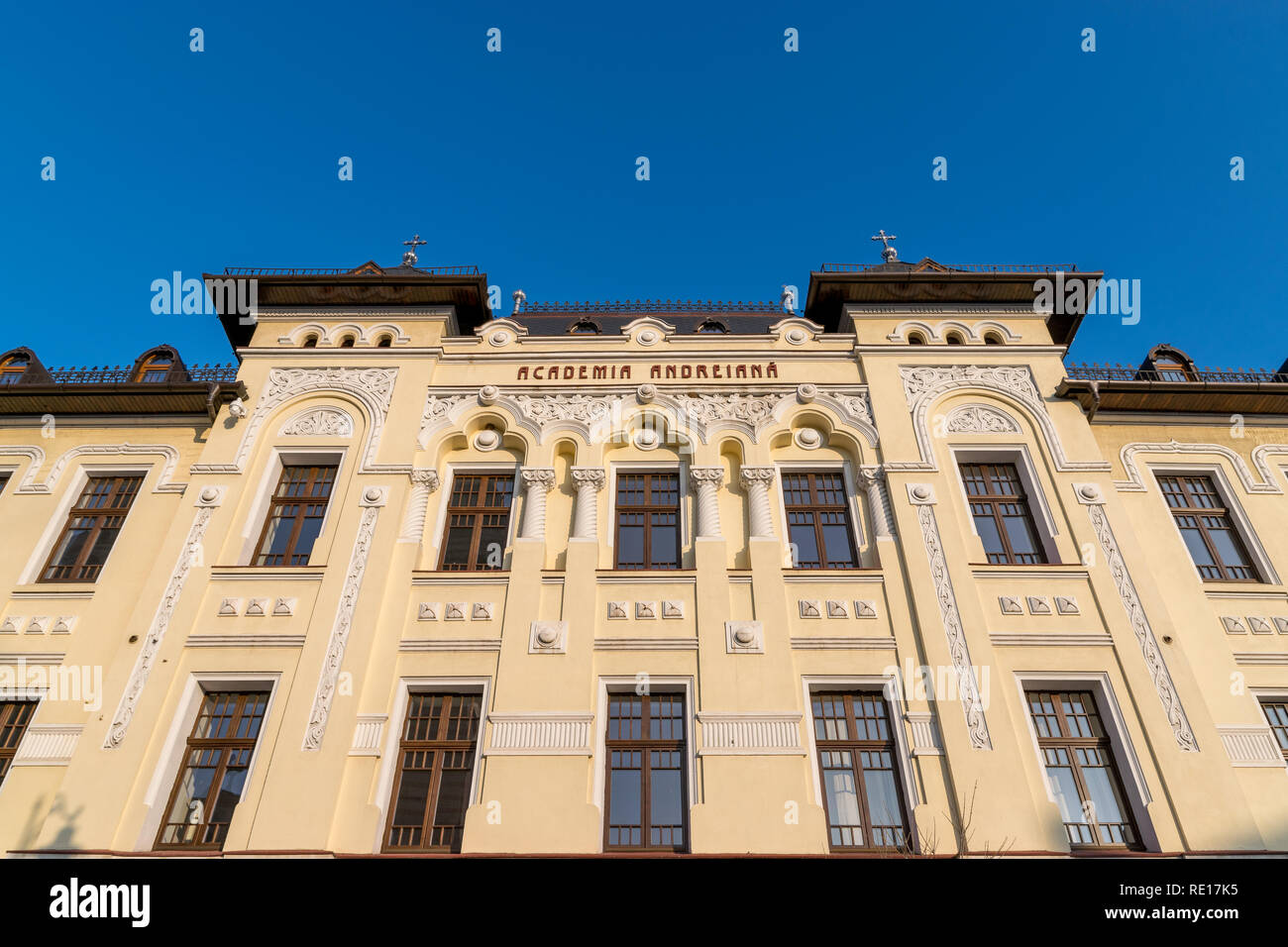 The building of Academia Andreiana, part of the Faculty of Teological studies in Sibiu, Romania. - Stock Image