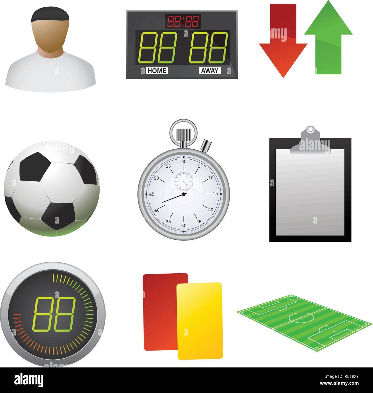 Football icons set - Stock Vector