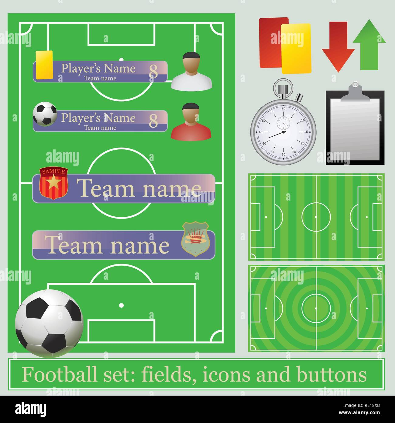 Football set: fields, icons and buttons - Stock Vector