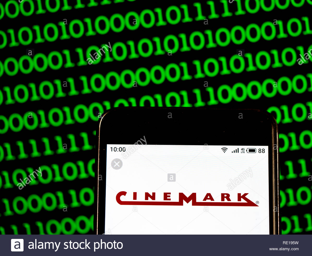 Cinemark Theatres Movie theater company logo seen displayed on smart