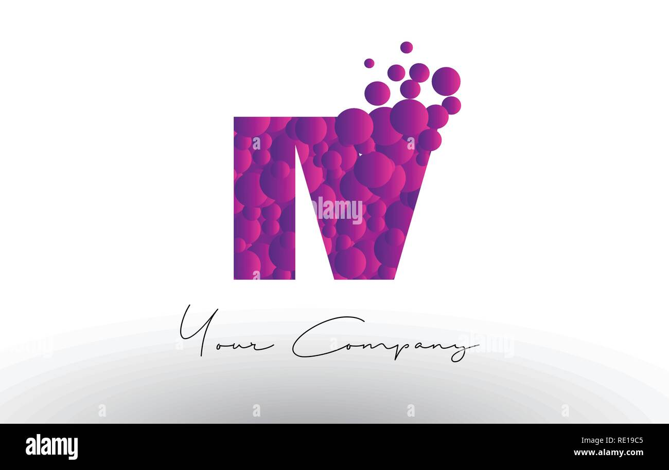 IV I V Dots Letter Logo with Purple Pink Magenta Bubbles Texture Vector. - Stock Vector