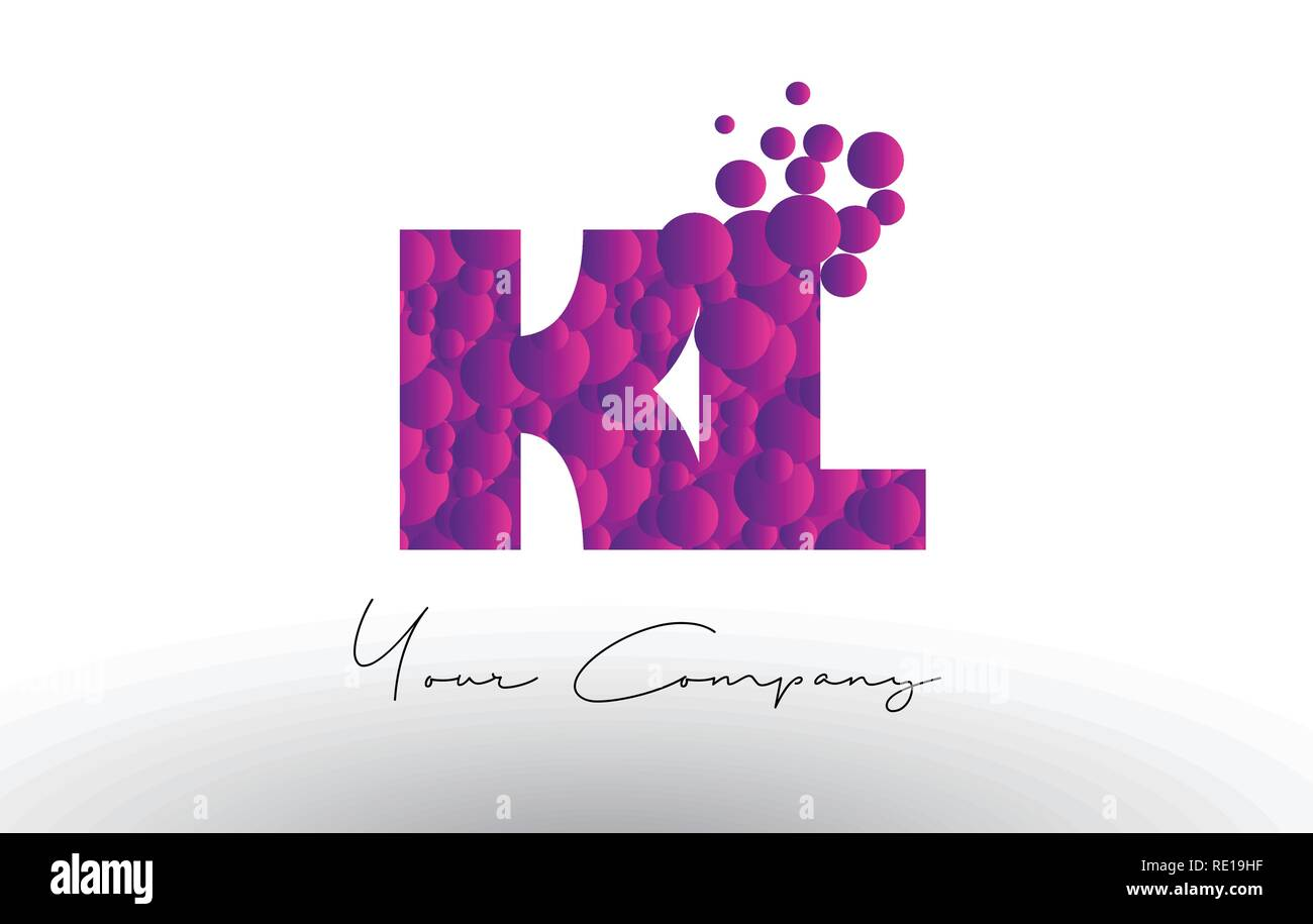 KL K L Dots Letter Logo with Purple Pink Magenta Bubbles Texture Vector. - Stock Vector