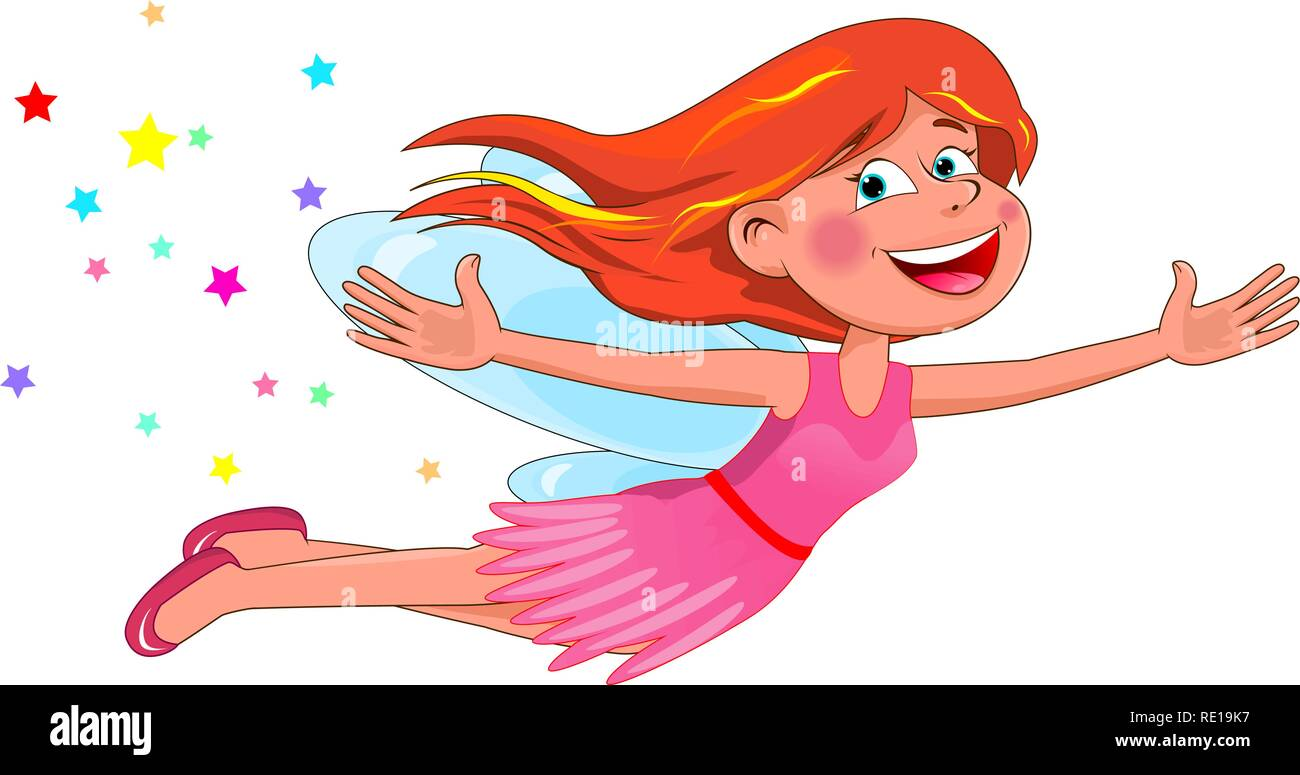 Fairy with red hair. Little flying fairy in a pink dress on a white background. - Stock Image