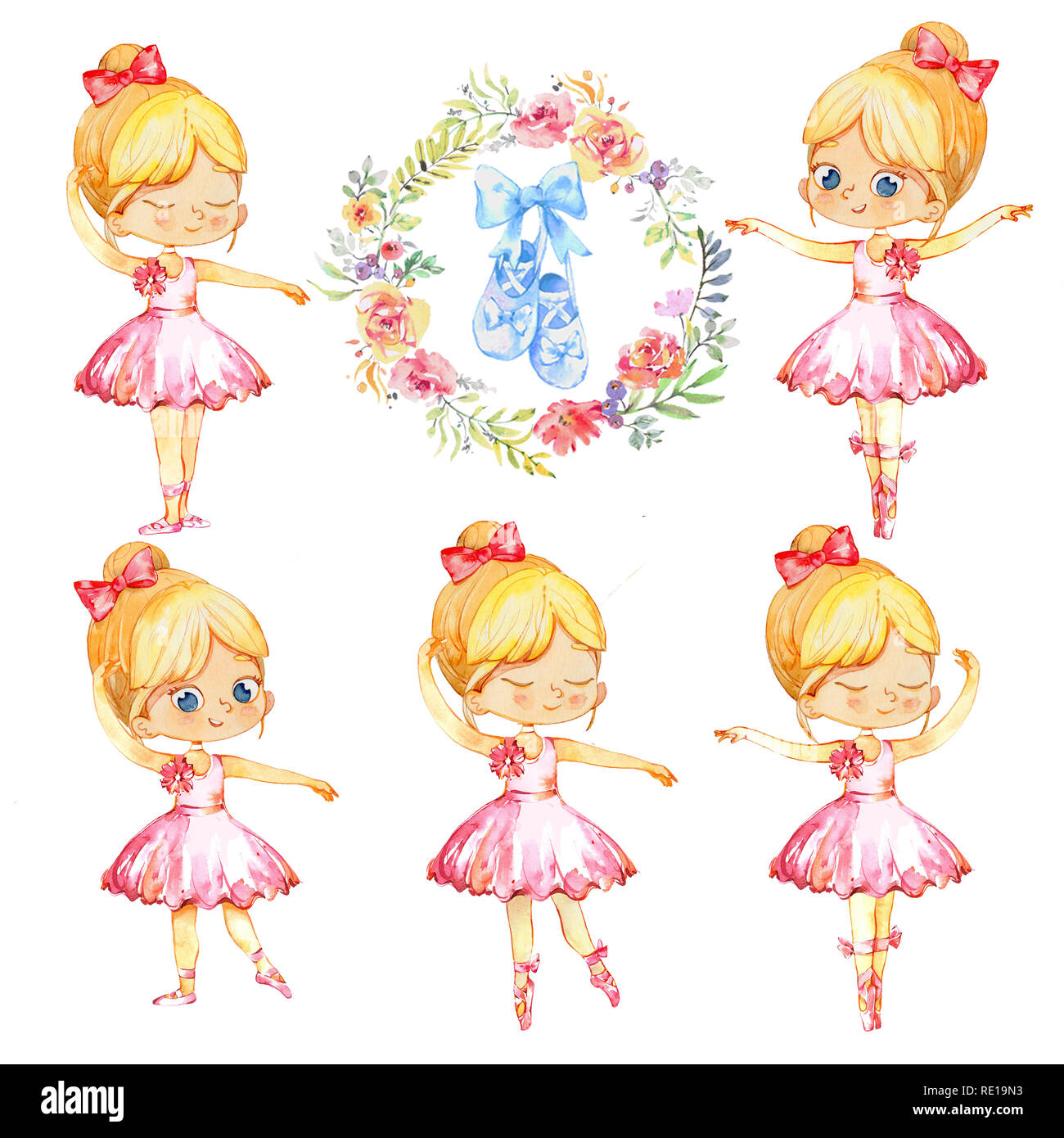 Set of Blond Ballerina Princess Character Dancer Girl. Cute Child Girls wearing pink Tutu Costume Training in School Class. Baby Ballet Shoes Poster Design Concept Watercolor Illustration. Isolated. - Stock Image