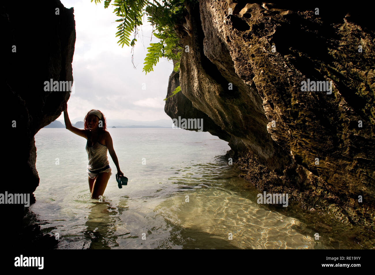 A Tourist In Cudugman Cave Bacuit Archipelago Palawan El