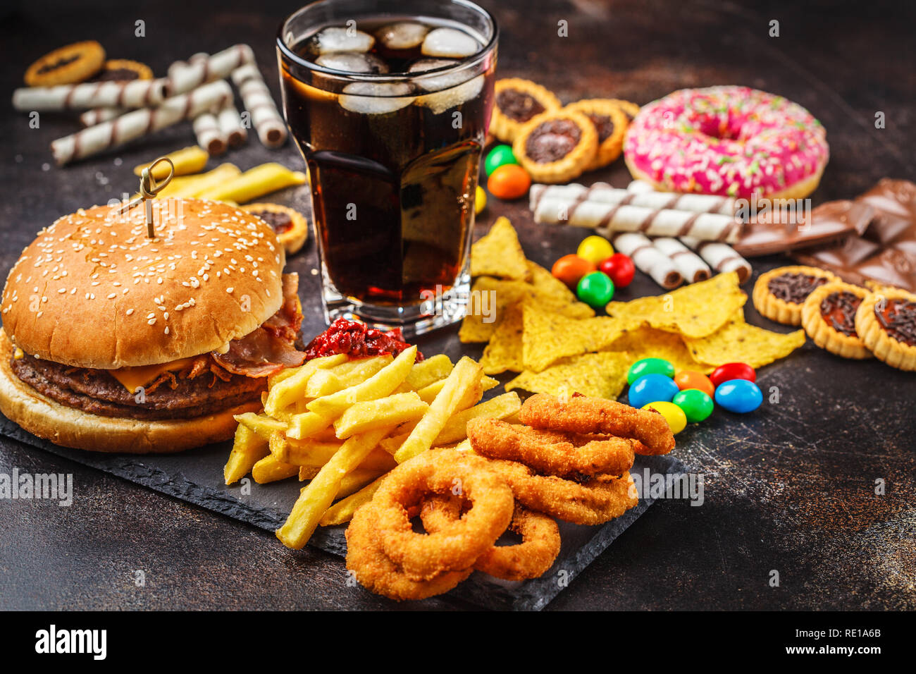 Junk food concept  Unhealthy food background  Fast food and