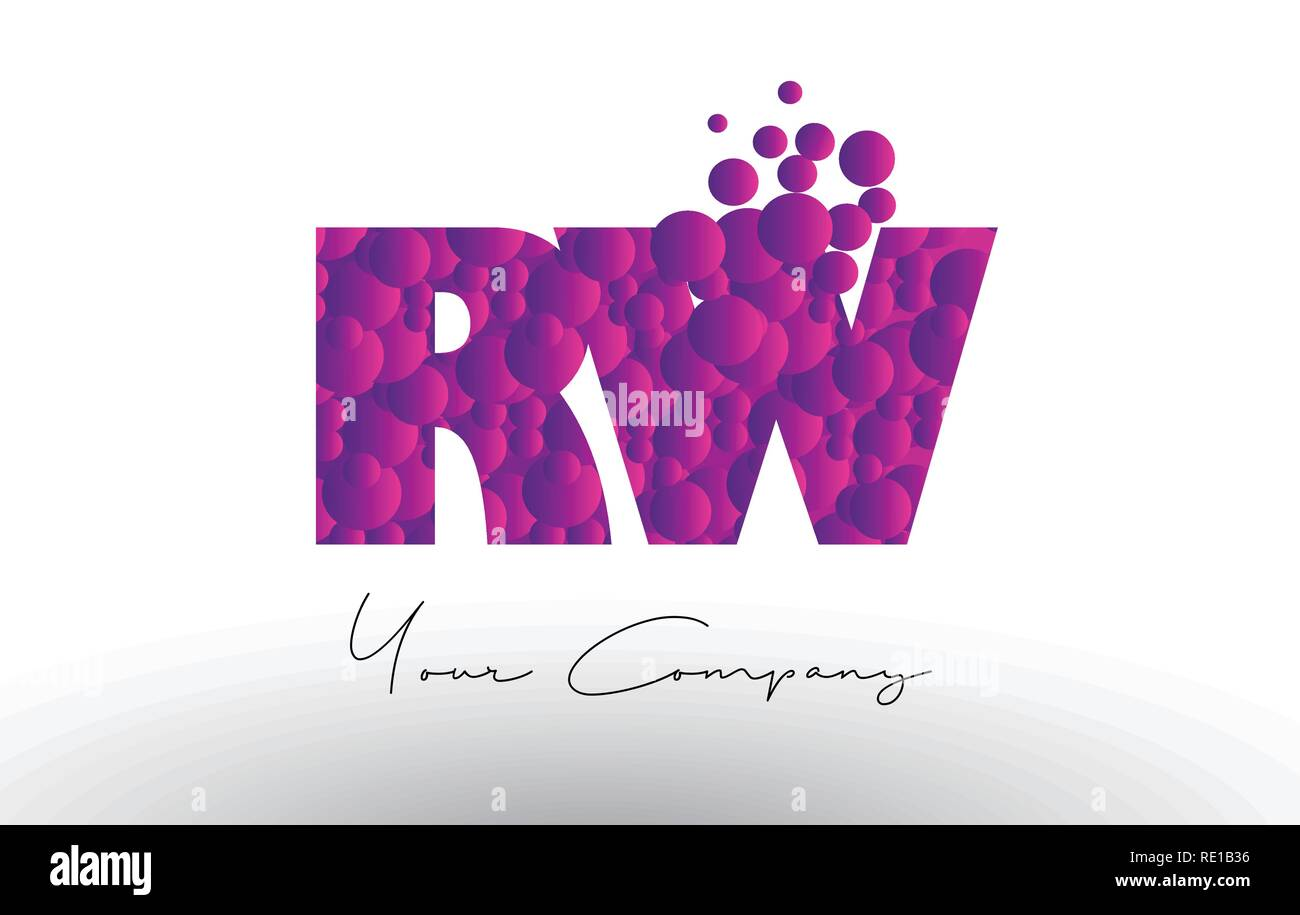 RW R W Dots Letter Logo with Purple Pink Magenta Bubbles Texture Vector. - Stock Image