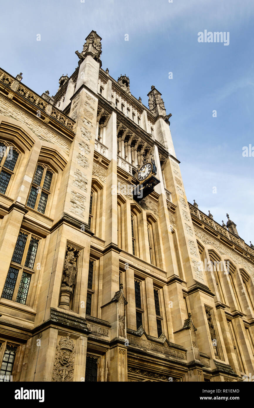 King's College London, UK - the 1851 facade of the Maughan Library, on the Strand campus off Chancery Lane. Until 2003 it was the Public Record Office - Stock Image