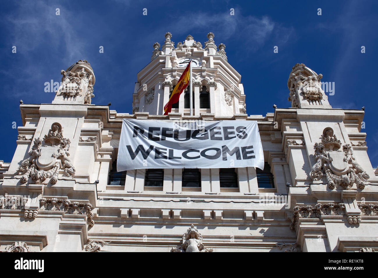 Refugees Welcome, political and social Statement - Stock Image