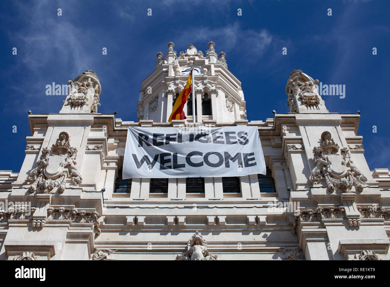 Refugees Welcome, political and social Statement Stock Photo