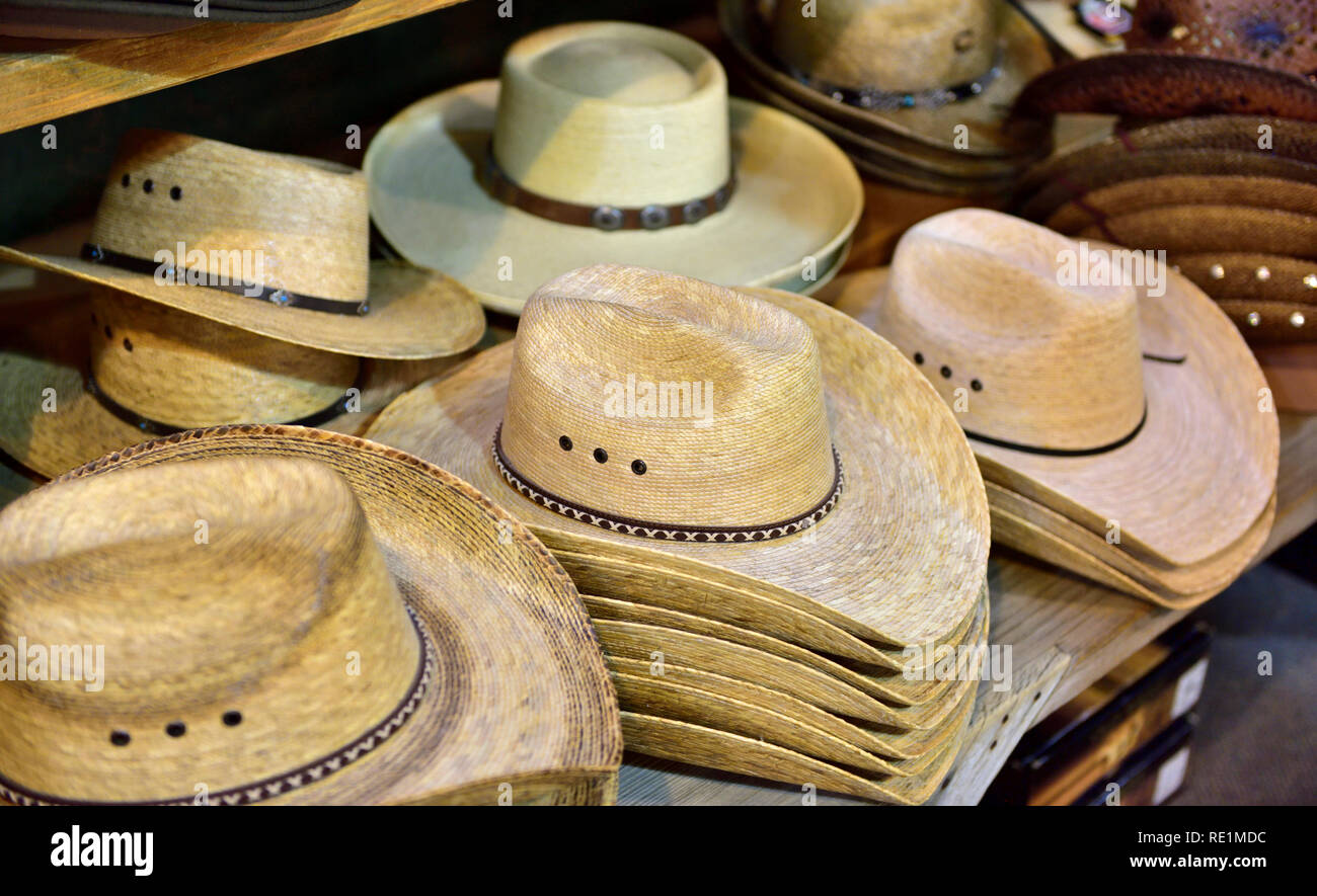8584b65213a06 American western wide brim  cowboy  style hats on display for sale in shop