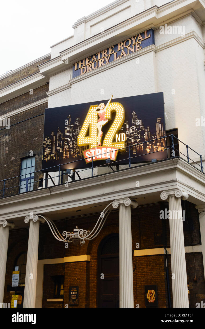 Theatre Royal, Drury Lane with 42nd Street show. London, England - Stock Image