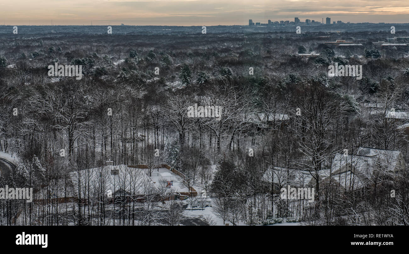Photo looking over Reston Virginia, early in the morning after a snowfall. Tyson's Corner is in the background. - Stock Image