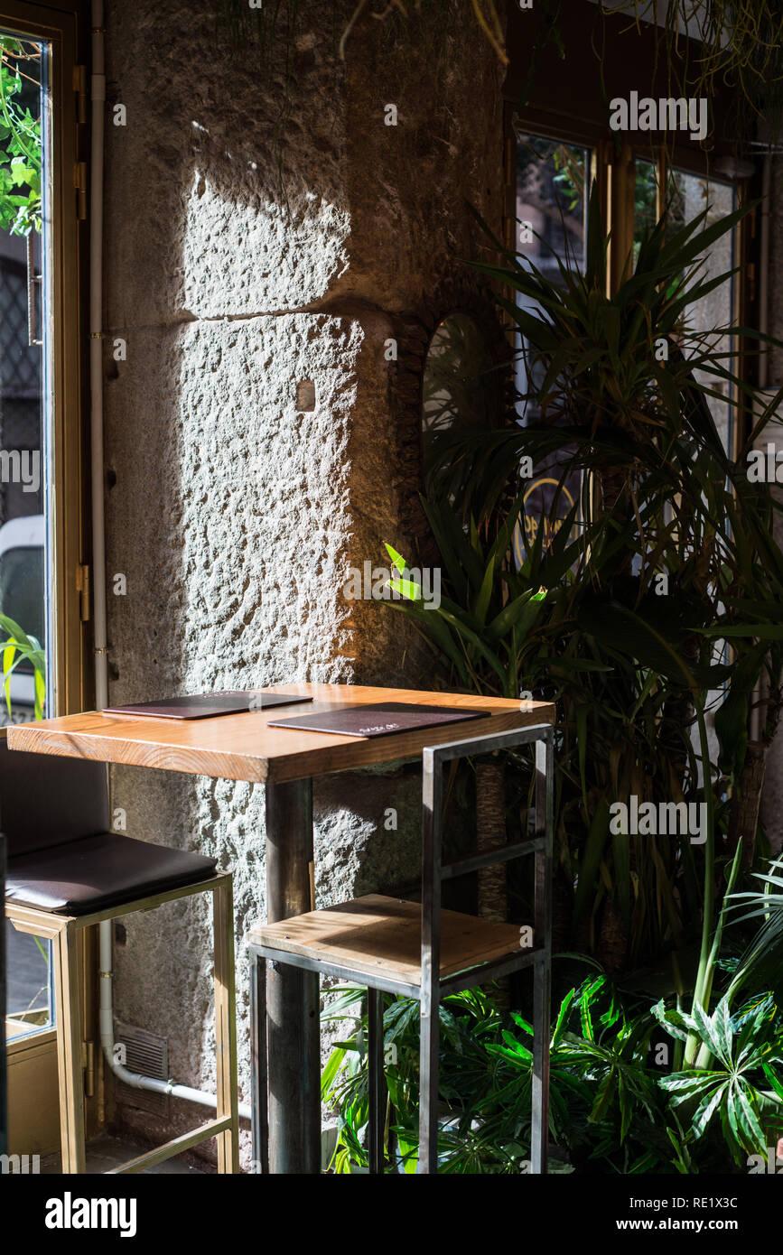 Cafeè interiors, Malasana, Madrid, Spain - Stock Image