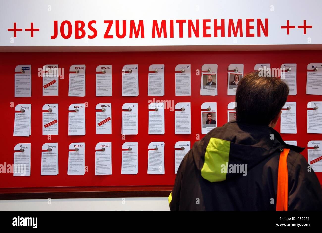 Job Seekers Market, Job offers at a stall, Computer and IT Trade Fair Cebit, Hanover Messe, Trade Fair, Hanover, Lower Saxony Stock Photo