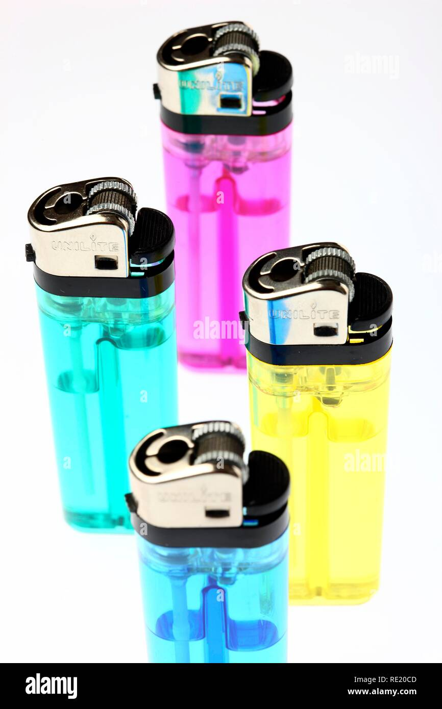 Colourful disposable lighters, LPG filling - Stock Image