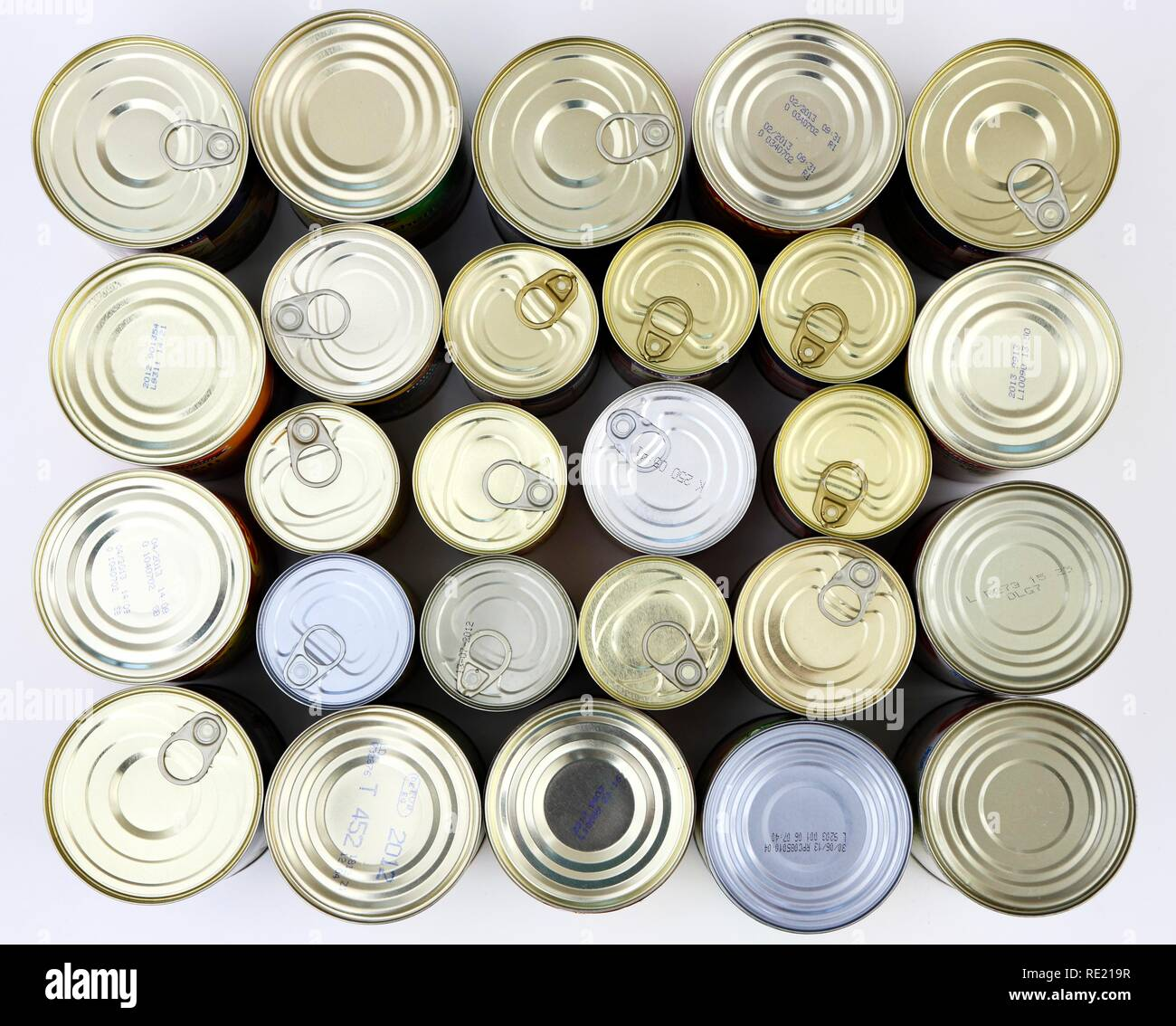 Cans of tinned food - Stock Image