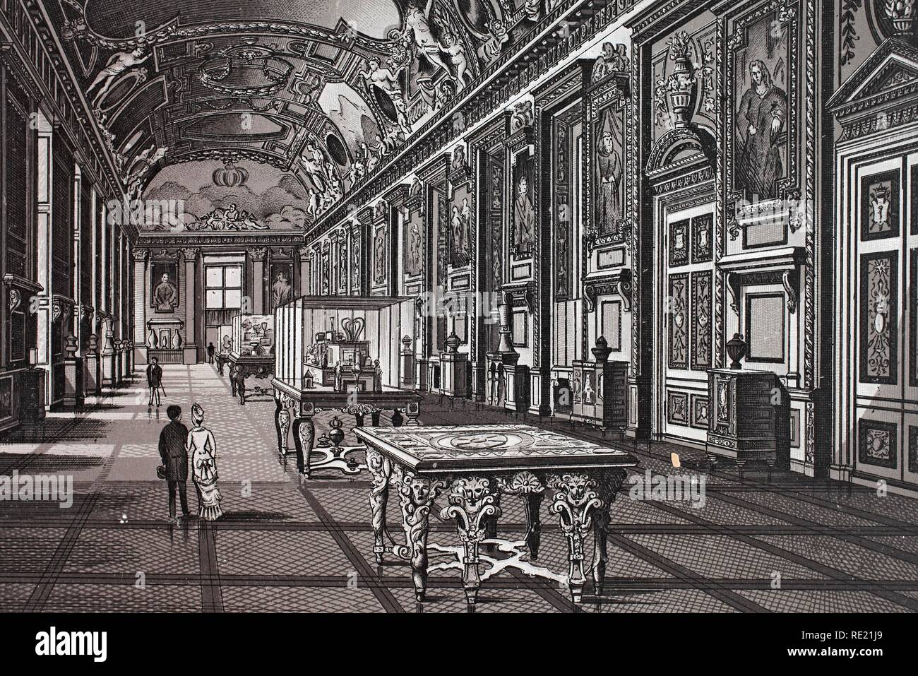 Louvre, Galerie d'Apollon, historic copper-plate etching, from around 1890, Neal's, Paris, France, Europe - Stock Image