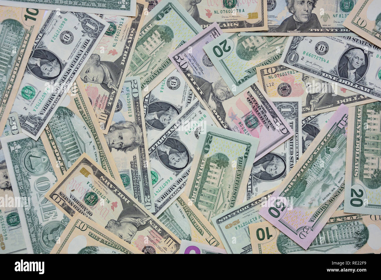 Selection of US dollars, Stanwell Moor, Surrey, England, United Kingdom - Stock Image