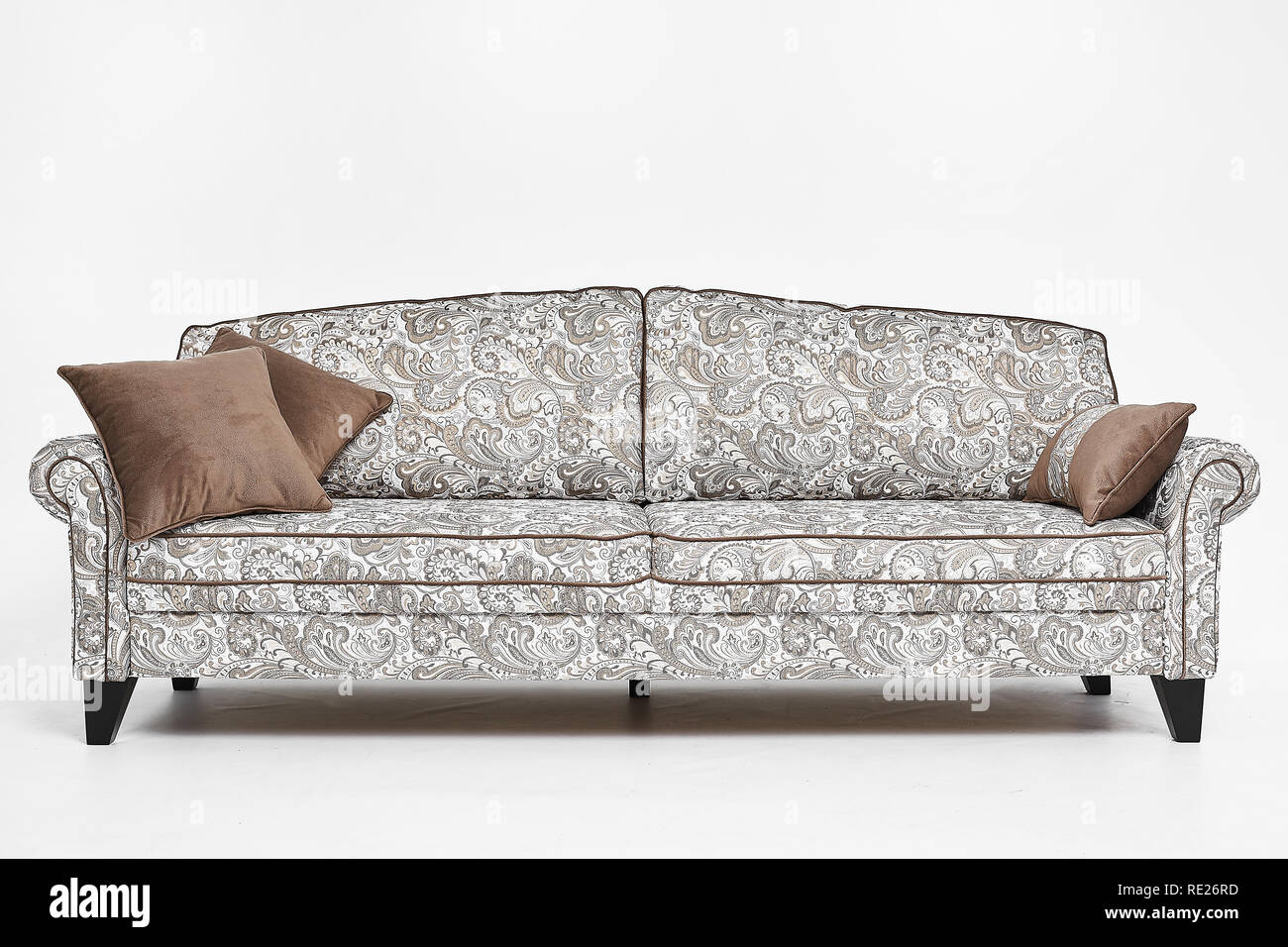 Groovy White Sofa With Vintage Style Patterns And Brown Pillows On Squirreltailoven Fun Painted Chair Ideas Images Squirreltailovenorg
