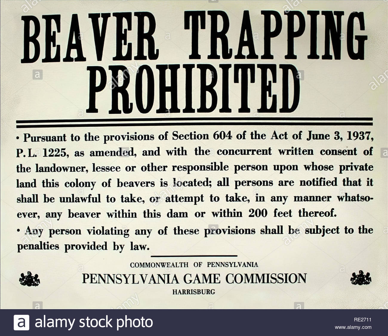 Beaver Trapping Notice 1937 - Stock Image