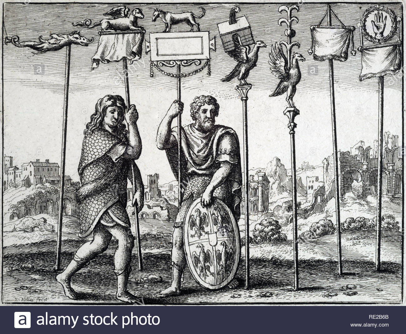 Seven Roman Standards, etching by Bohemian etcher Wenceslaus Hollar from 1600s - Stock Image