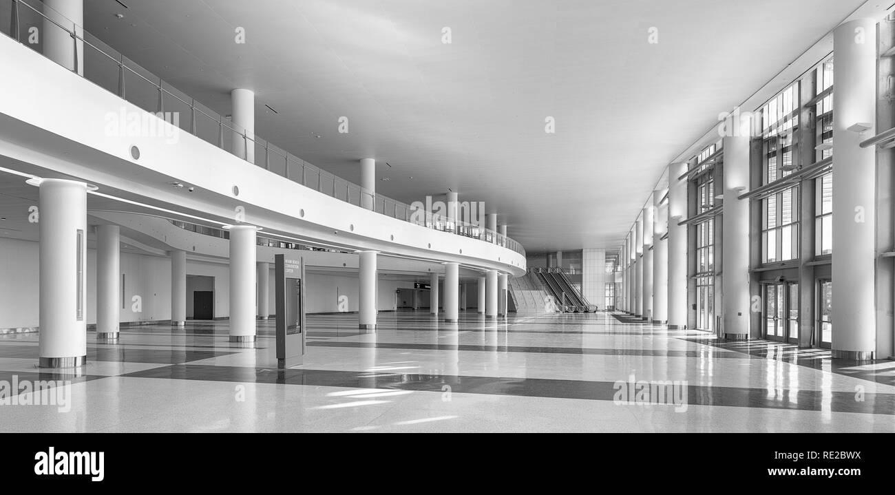 Empty lobby inside the Miami Beach Convention Center in Miami Beach, Florida Stock Photo