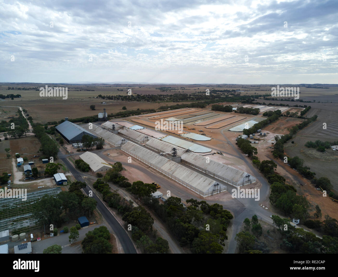 Aerials of grain storage facilities including bunking for roadtrains at Gladstone South Australia - Stock Image