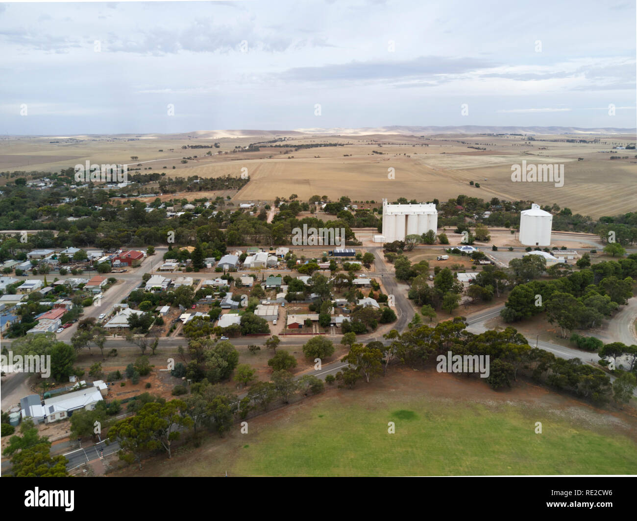 Aerials of historic agricultural settlement of Gladstone South Australia - Stock Image