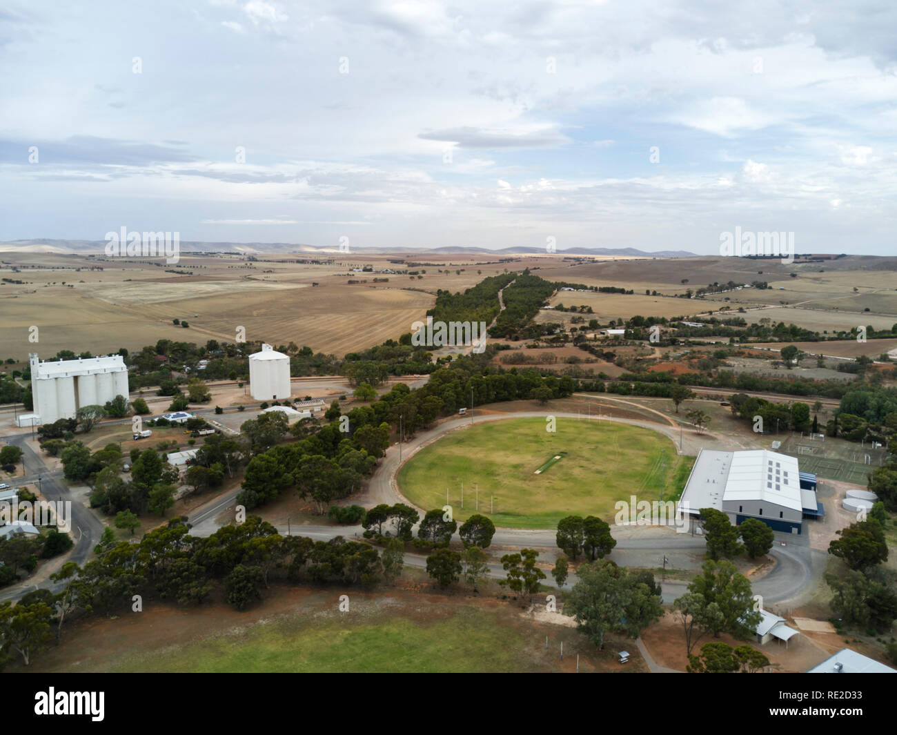 Aerials of sporting complex and the historic agricultural town of Gladstone South Australia - Stock Image